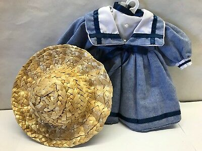 """Vintage Lot 2 pc Doll dress fit 18"""" doll straw Hat Made for Shirley temple doll"""