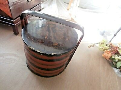 antique Chinese Asian 3-tier handled painted wood round wedding gift basket