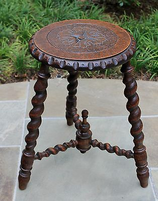 Antique English Oak Barley Twist PETITE Round Carved Top Foot Stool Bench #2