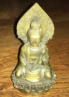 Bronze Buddha Small Statue Vintage Antique Asian Signed Chinese China