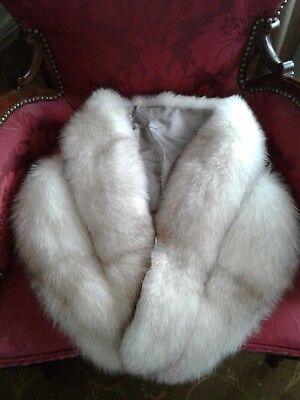 VINTAGE MINK FUR COLLAR EXCELLENT WHITE with SHADES of LIGHT BROWN
