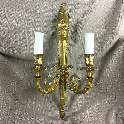 Vintage French Regency Antique Style Gold Bronze Wall Light 2 Arm Sconce