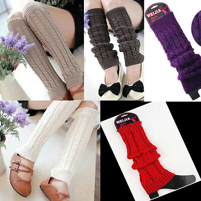 Leg Warmers Women Warm Knee High Winter Knit Crochet Leggings Boot Socks Slouch