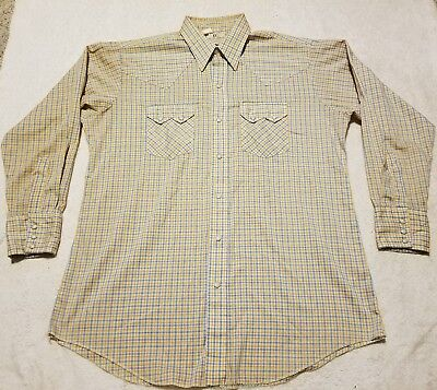 Vintage Dee Cee Authentic Western Wear Plaid Shirt Size 16.5-33 Made in USA