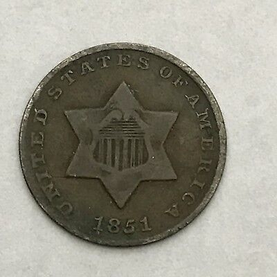 1851 3C Three Cent Silver- F# - AZ