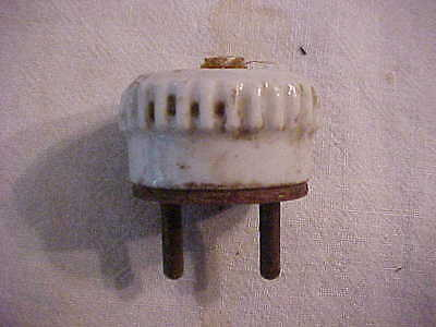 EARLY Industrial Antique Vintage UNUSUAL Porcelain & Brass 2 Prong Lamp Plug