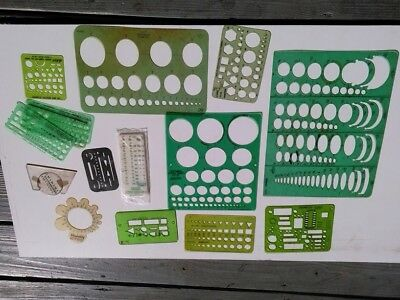 Lot of Drafting / Drawing Tools and Templates - Vintage / Architect / Triangle
