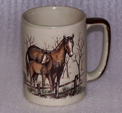 Otagiri Horse Mare and Foal Ceramic Coffee Mug Cup Japan