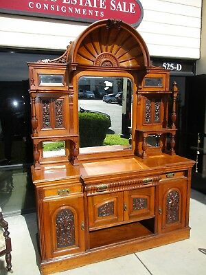 Late 19Th Century Walnut Victorian Edwardian Carved Sideboard W/ Bonnet Top