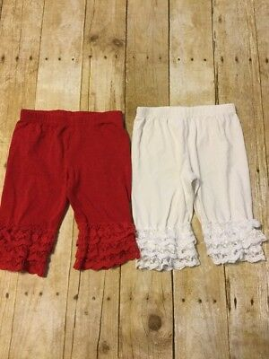 Set Of 2 Sassy Chic Boutique Lacy Lola Shorties 5/6 Knee Length Red & White