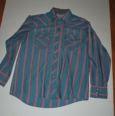 80's Western Men's Shirt By ATB Pearl Snaps Green Purple Plaid L (16 1/2-34/35)