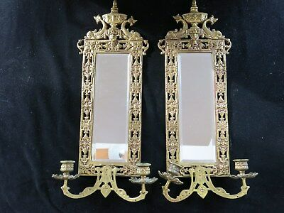 Pair of Victorian Brass Fish Dolphin Mirrored Two Branch Wall Sconces Prisims