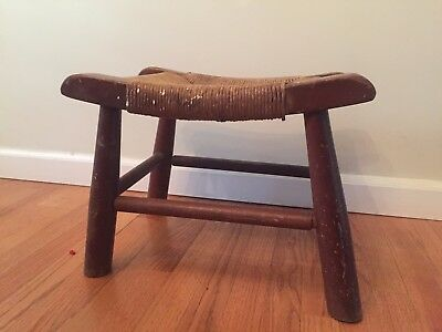 Antique Milking Stool Woven Seat Bench
