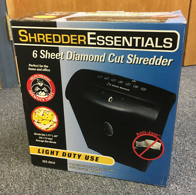 Shredder Essentials 6 Sheet Diamond Cross Cut Shredder / Model D610 - New in Box