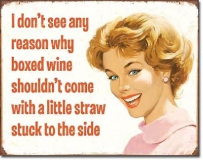 Boxed Wine With Straw Funny Metal Tin Sign Retro Bar Kitchen Room Wall Decor