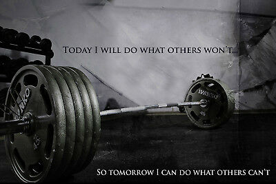 "Gym Motivation 4 Poster Print Workout Fitness Weights Deadlift Quote ""today...."""