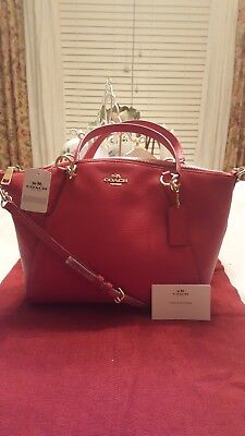 NEW w/Tag COACH Pebbled Leather Small Kelsey RED Satchel/Crossbody F36675