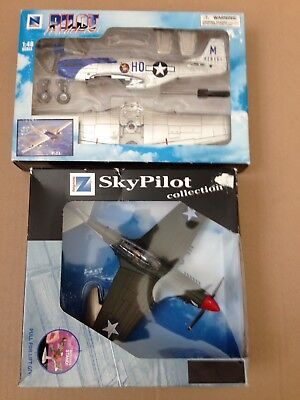 1/48 Sky Pilot P40F, New Ray P51D models. Lot of 2. Used.