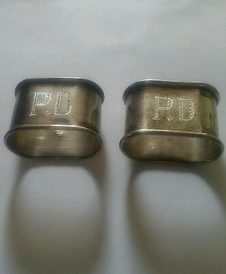 Pair of Vintage Egyptian Sterling Napkin Rings