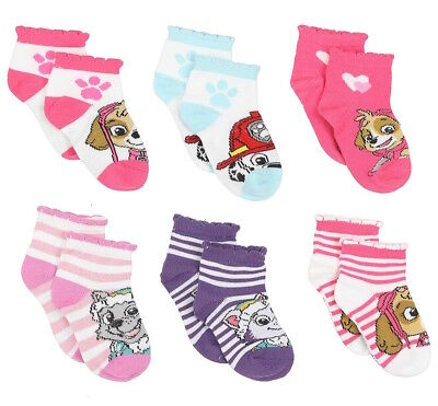 New Paw Patrol Girls Pack of 6 Multi Color Socks Size 2-4 Shoe 4-7 Skye Everest