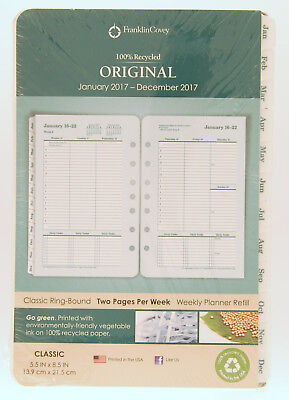 2017 * Franklin Covey Original Two Page Per Week Classic Weekly Planner Refill