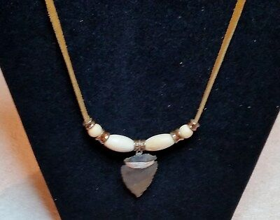 Handcrafted Native American Agate Arrowhead Necklace Made in the USA