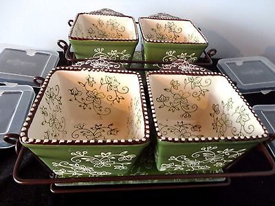 2 Sets of 2 - Temptations Presentable Ovenware, Green, Floral Lace Raminkins