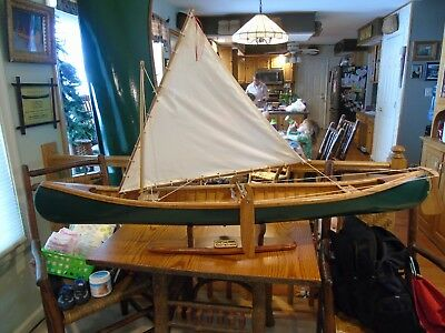 Very Nice 5 Ft Model Wooden and Canvas Sailing Canoe Model.