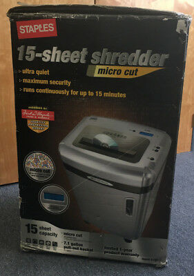 Staples Professional Grade 15 Sheet Micro Cut Shredder / Model SPL1580M - NIB