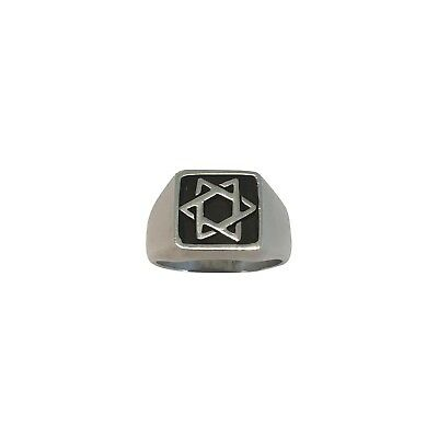 Star of David Sterling Silver Man's Ring Size 8.75