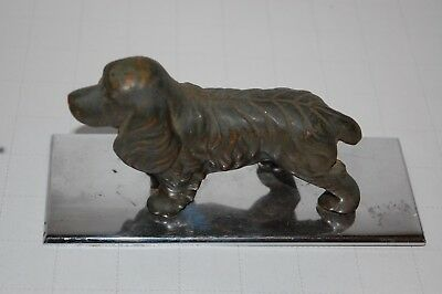 Vintage Heavy Bronze Dog On Polished Plate