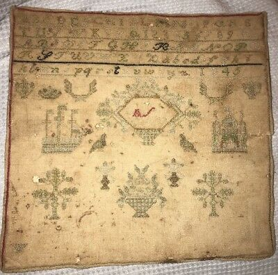 19th Century SAMPLER Antique 1845 Unframed & Unsigned