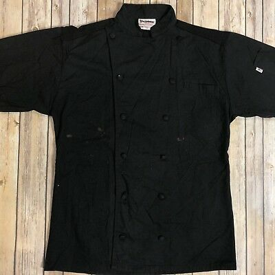 Moisture Wicking Short Sleeve Chef Coat Black Aruba By Uncommon Threads S/M #88