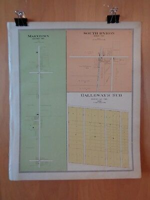 Antique Marytown South Byron Galloway's Sub Plat Map Page Atlas Dated 1910