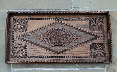 Antique English Carved Oak Rectangular Countertop Table Coffee Tea Serving Tray