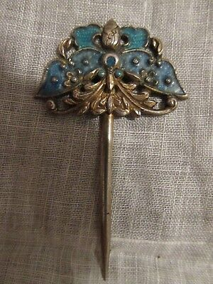 Antique Chinese Enamel on Silver Hair Pin 19th Century Enamel Butterfly