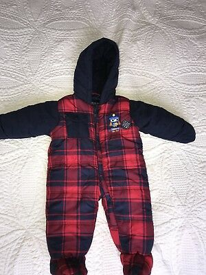 Baby Warm Red Square Pattern Snowsuit 6-9 Month