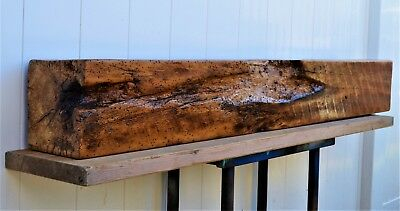 """Rustic Reclaimed Solid Oak Antique Salvaged Barn Wood Beam Mantle 57"""" L  8"""" X 8"""""""
