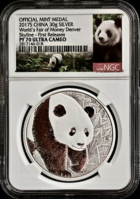 2017S Silver Panda Worlds Fair Denver ANA RELES NGC PF70 1st Releases-888 COINS