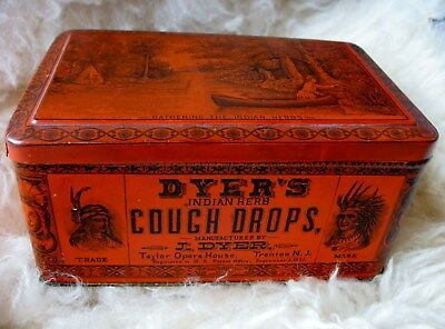 Dyer's Indian Herb Cough Drop Tin Litho Native American