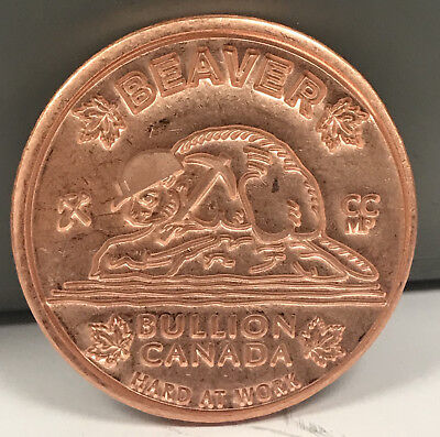Limited Edition Beaver Bullion 1 AVDP oz .999 Copper Round Bar W/Serial Number