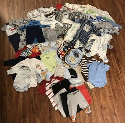 Lot of 120+ Baby Boy Newborn & 0-3 Months Clothes