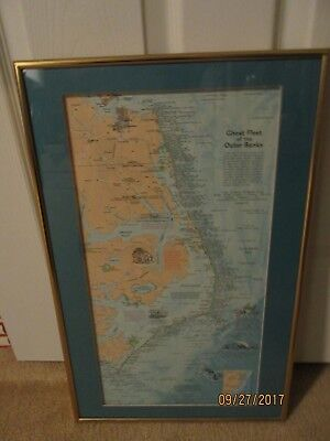 Outstanding, Framed Ghost Fleet of the Outer Banks Map Showing Shipwrecks