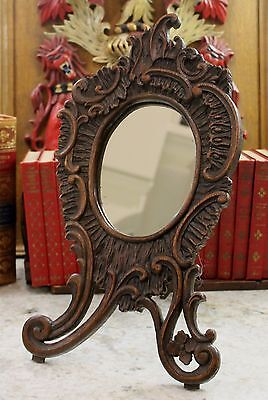 Antique French Carved Oak ROCOCO Victorian PETITE Oval Vanity Mirror on Easel