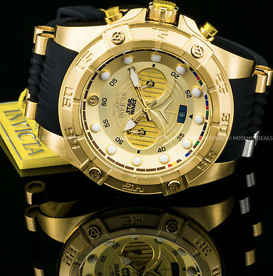 Invicta STAR WARS C3PO Mens 52mm Limited Edition Chronograph Gold Tone PU Watch