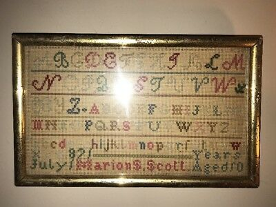 19th century ANTIQUE 1871 Fine Folk Art Needlepoint Sampler Marion S. Scott