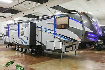 New 2018 422V12 All Season 3 Slide Out 5th Fifth Wheel Toy Hauler 2 Bathrooms