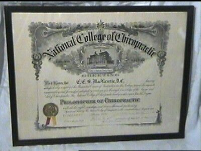 Antique 1928 National College Chiropractic Diploma No Frame Or Glass