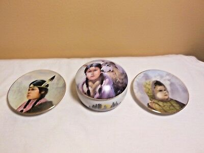 Gregory Perillo Lot Music Box Plates Running Bear Proud Eagle Limited Edition #