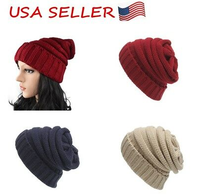 Trendy Warm Chunky Soft Stretch Cable Cap Hats For Men Women Gift  US Stock sale